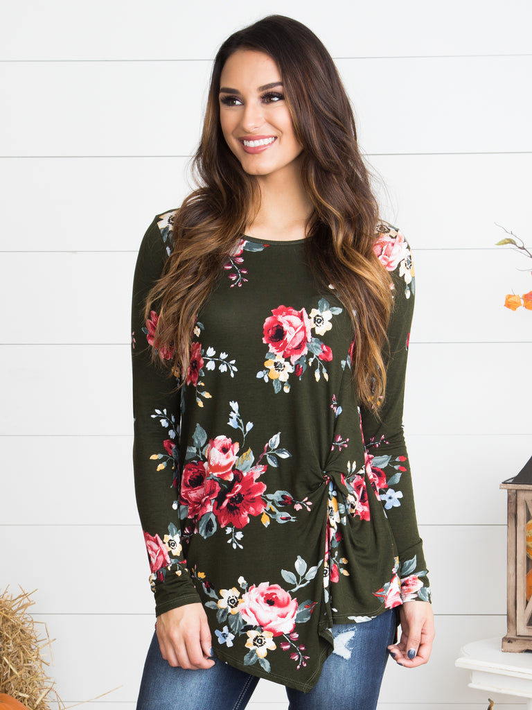 Lost In Love Floral Knot Top - Olive