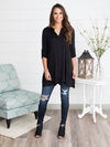 Briley Button Down Tunic - Black
