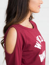 Wonder Woman Open-Shoulder Top - Maroon