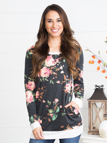 Evie Floral Tunic - Charcoal