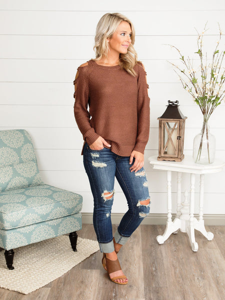 Castle On A Hill Cutout Sweater - Bronze