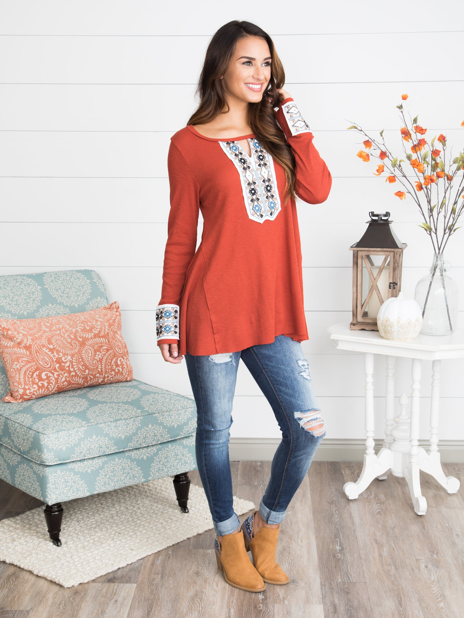 7f44d68f77e7 Forever Young Tunic - Rust - Eleven Oaks Boutique