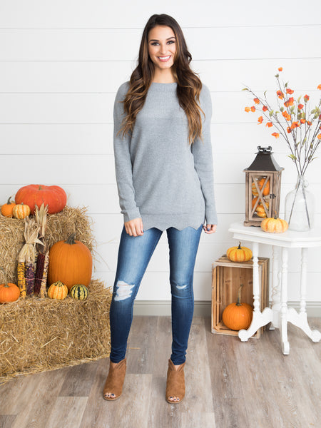 Sweetly Scalloped Sweater - Heather Grey
