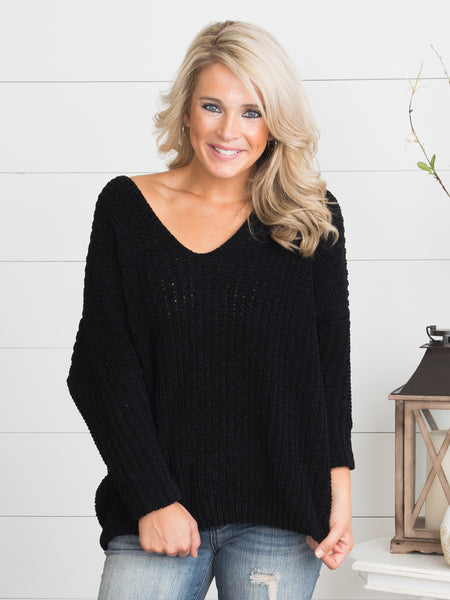 Cool Air Kisses Sweater - Black