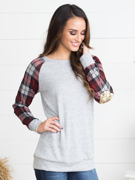 Lucky Me Sequin Elbow Patch Top - Heather Grey