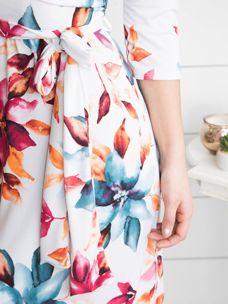 Truly Tropical Floral Wrap Maxi - Off White