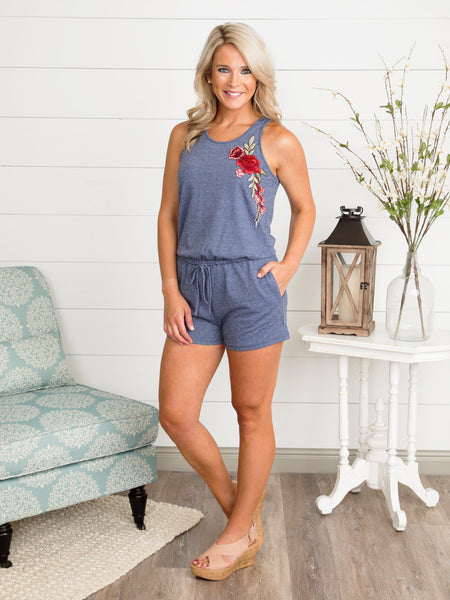 Kiss From A Rose Romper - Navy Heather