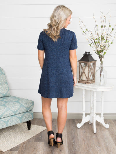 Love Me Like That Knit Tunic Dress - Navy