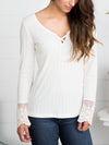 Linnea Lace Sleeve Top - Ivory