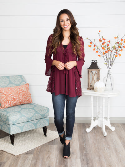 For Love And Lace Tunic - Burgundy