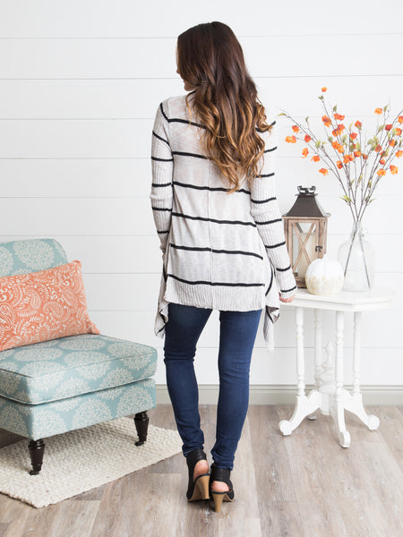 Line Of Sight Striped Sweater - Grey