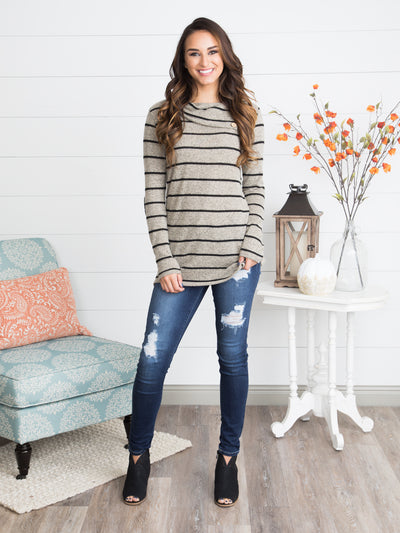 Margot Striped Tunic - Taupe