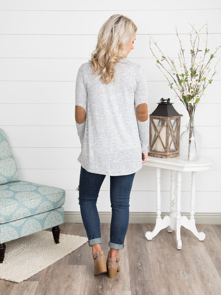 Just Right Elbow Patch Cardigan - Lt. Grey