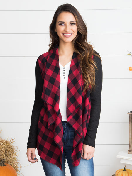The Perfect Time Plaid Cardigan - Red
