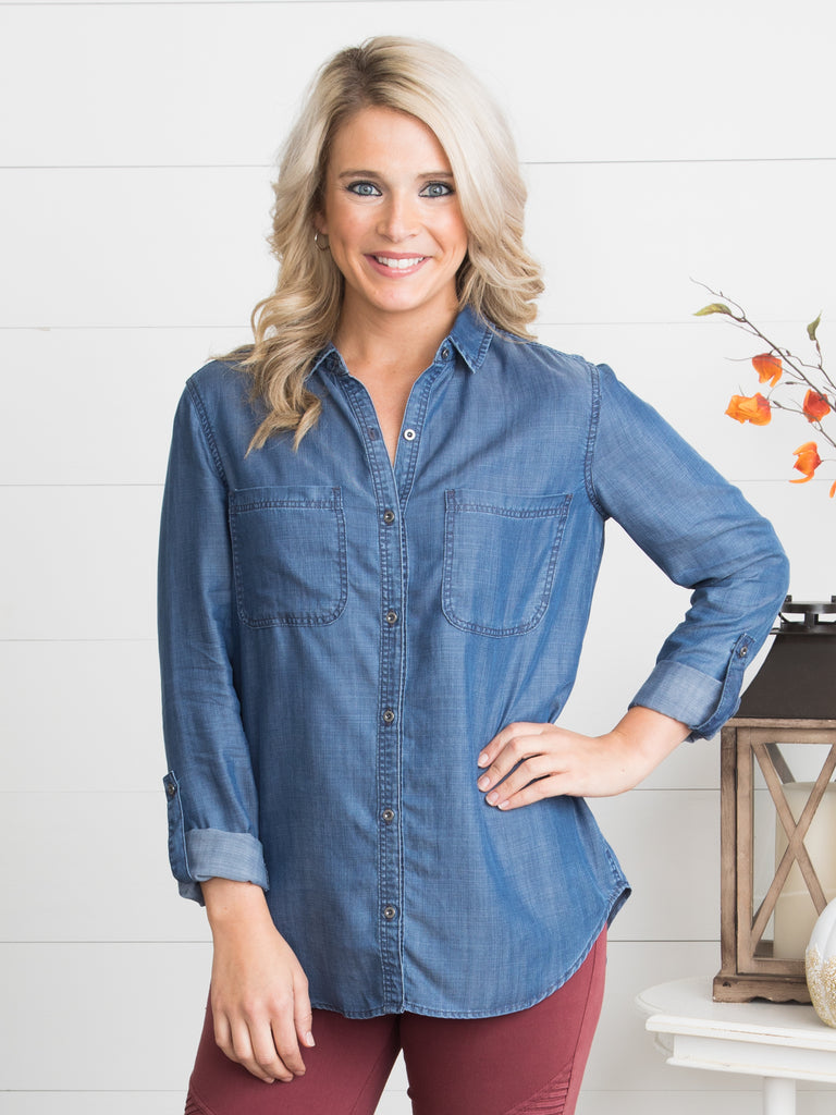 Fan Favorite Button-Down - Dark Chambray