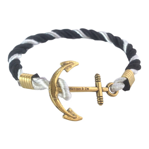 Anchor Bracelet | Black & White - Wesson & Co
