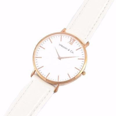 Rose gold white leather