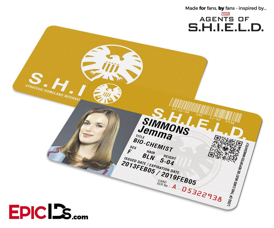Agents of SHIELD Inspired Classic SHIELD Agent ID - Jemma Simmons