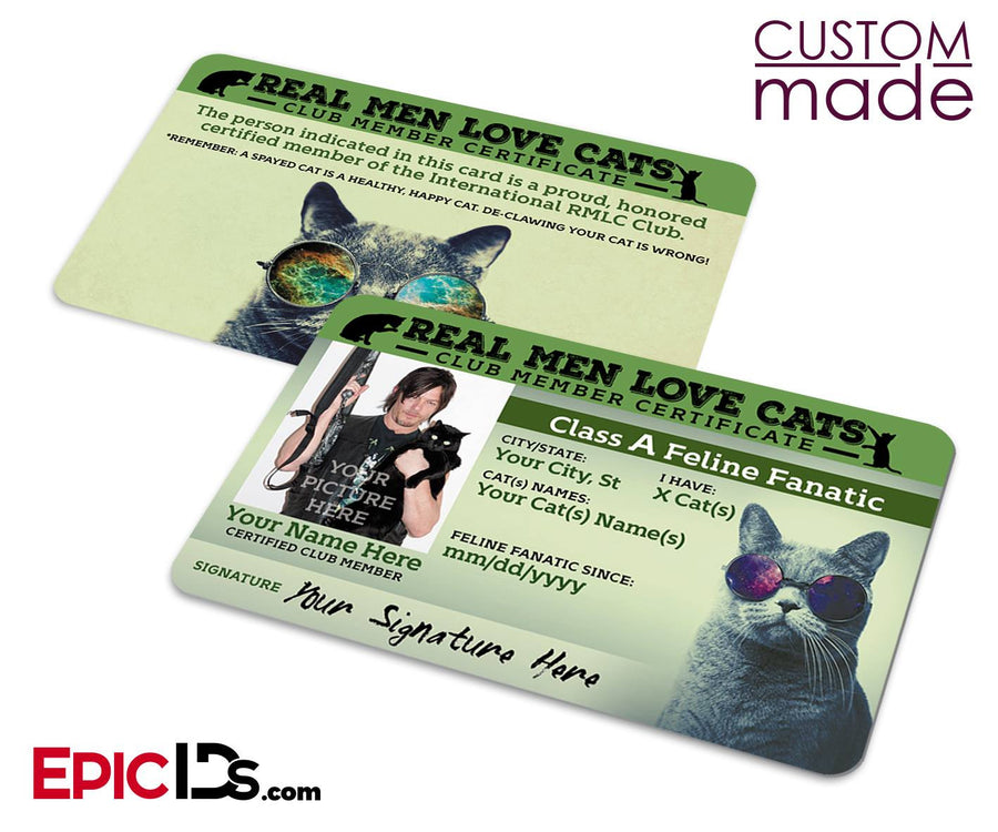 The 'Real Men Love Cats' Club Card [Photo Personalized]
