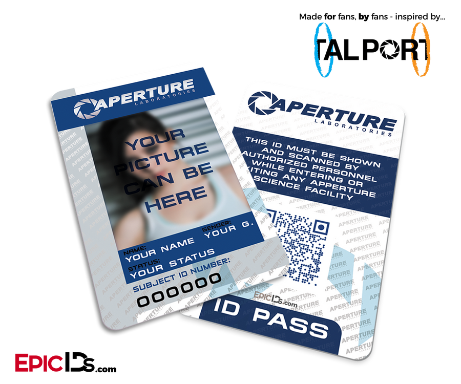 "Portal Inspired Aperture Labs ""Personalized"" Employee / Test Subject ID Card"