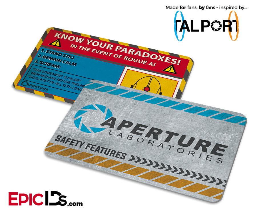 "Portal Inspired Aperture Labs ""Know Your Paradoxes"" Card"