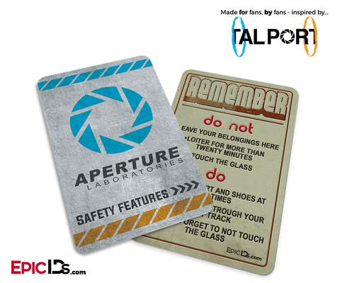 "Portal Inspired Aperture Labs ""Remember - Do Not - Do"" Card"
