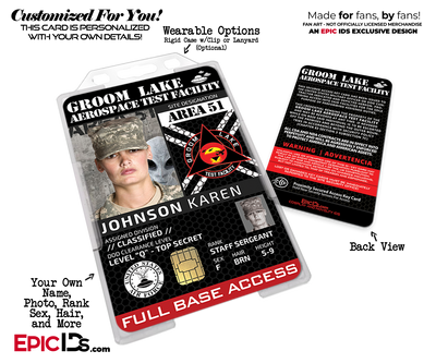 Groom Lake Test Facility AREA 51 Cosplay Security ID Badge [Custom / Photo Personalized]