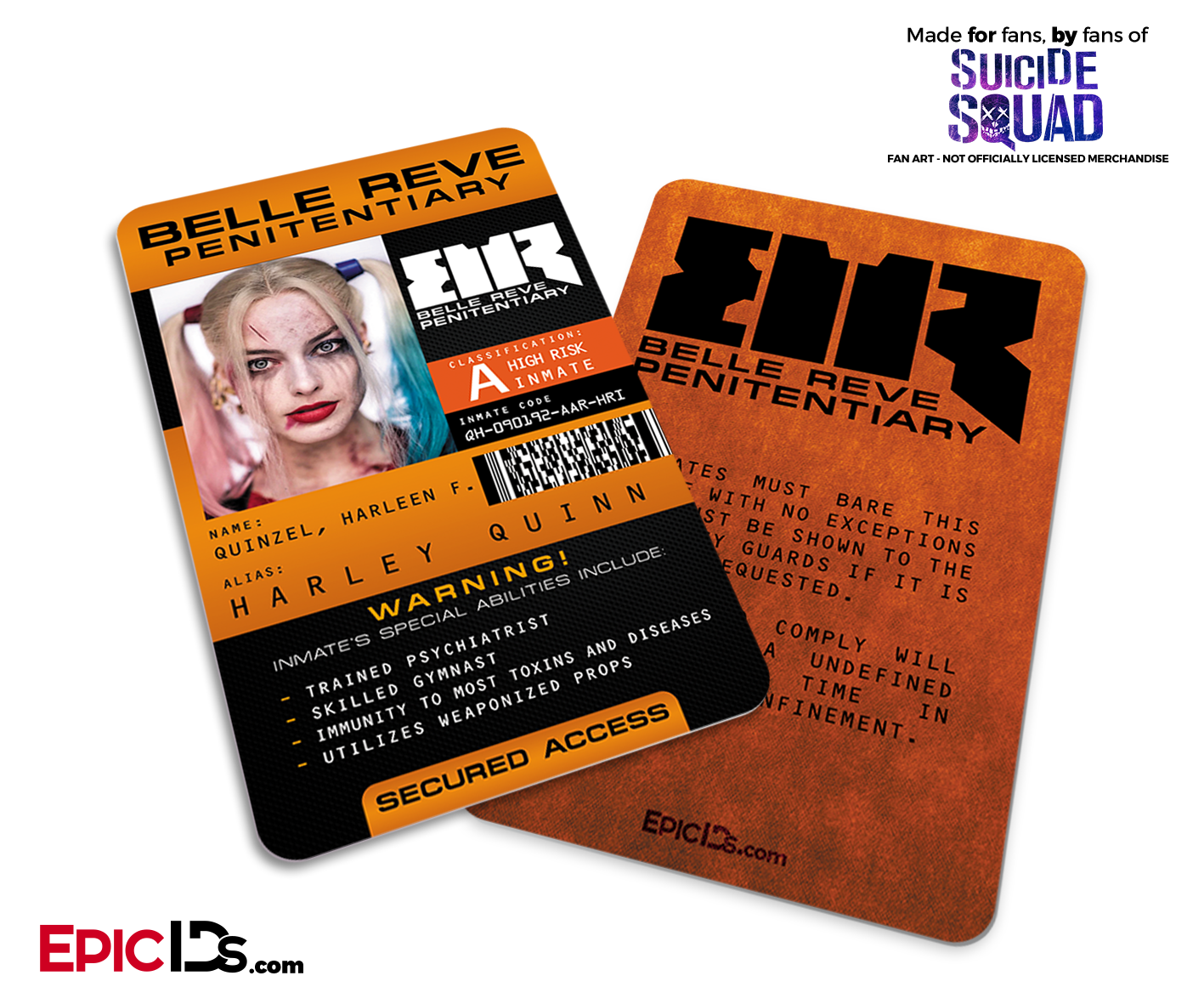 Belle Reve Penitentiary Suicide Squad Inmate ID Card