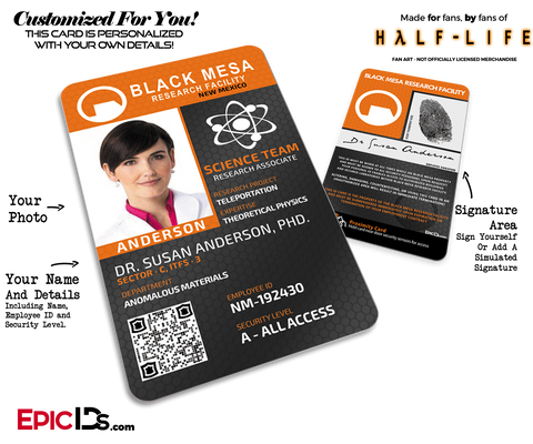 Black Mesa Research Facility 'Half Life' Science Team ID Badge [Photo Personalized]