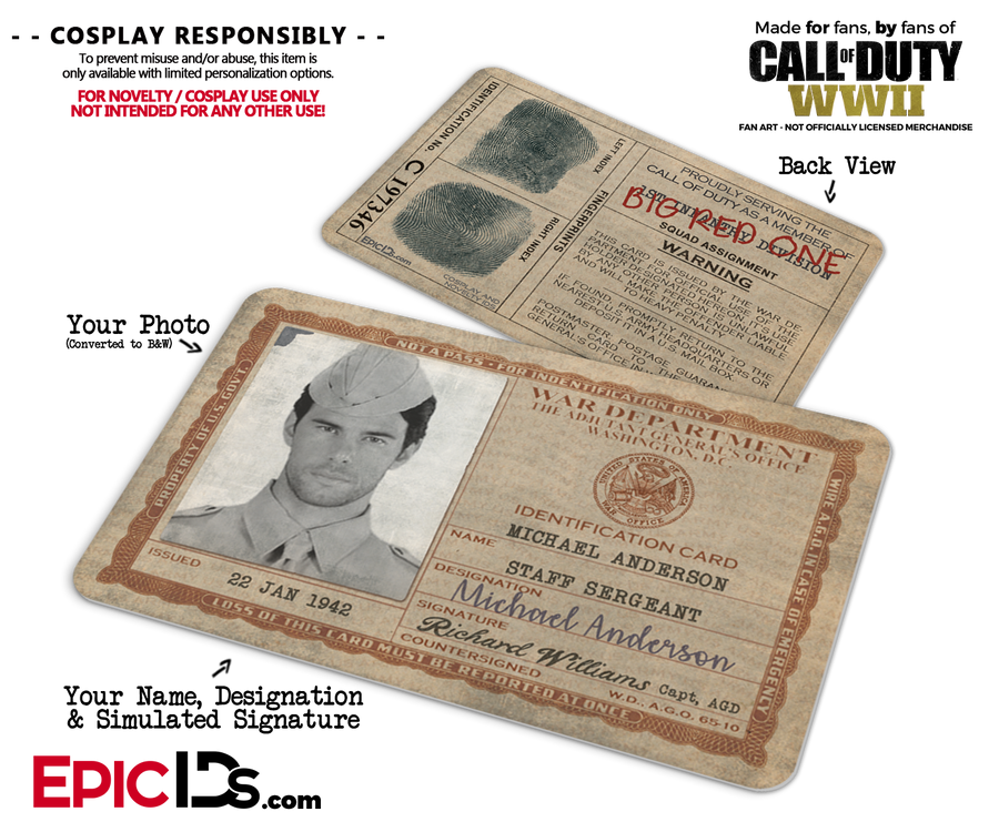 "WWII War Department ""Call of Duty"" Cosplay Name Badge/ID Card - Photo Personalized"