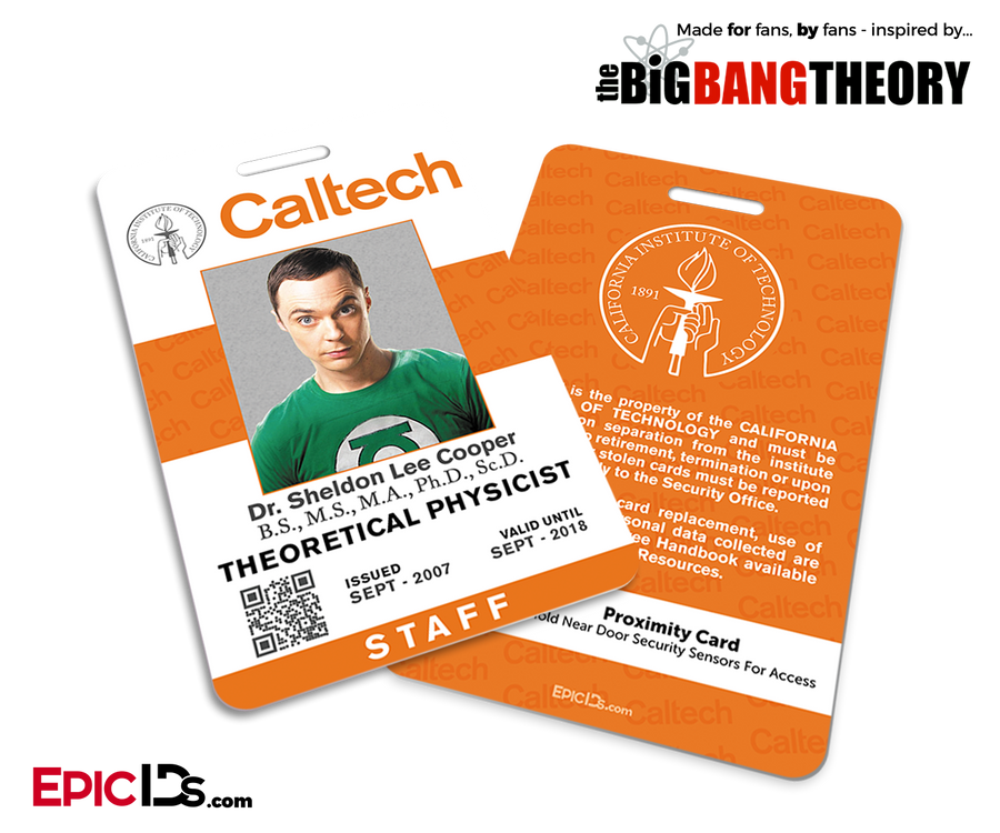 The Big Bang Theory Inspired Caltech Staff ID - Sheldon Cooper
