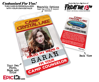 Camp Crystal Lake 'Friday the 13th' Camp Counselor Cosplay Name Badge [Custom / Photo Personalized]