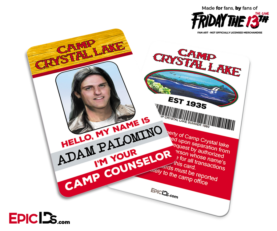 Camp Crystal Lake 'Friday the 13th - The Game' Camp Counselor Cosplay Name Badge - Adam Palomino (Edgy Guy)