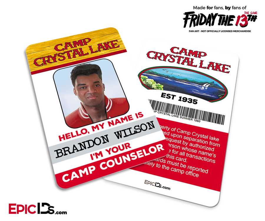 Camp Crystal Lake 'Friday the 13th - The Game' Camp Counselor Cosplay Name Badge - Brandon Buggzy Wilson