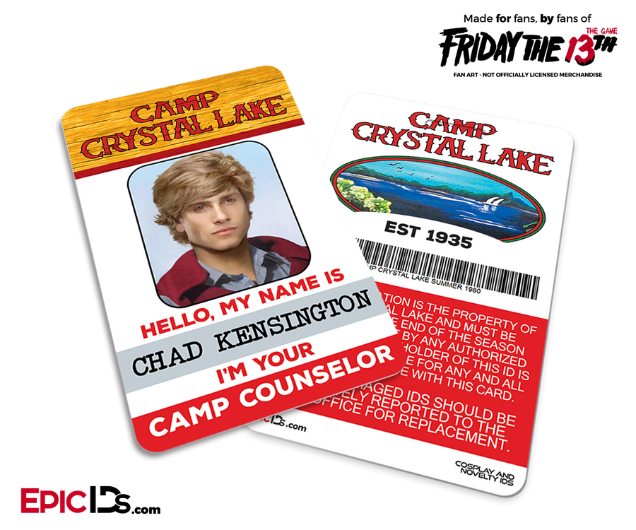 Camp Crystal Lake 'Friday the 13th - The Game' Camp Counselor Cosplay Name Badge - Chad Kensington (Preppy Guy)