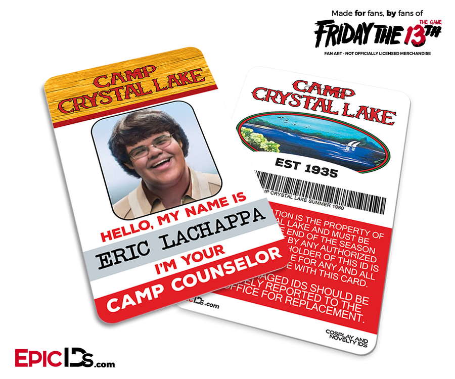 "Camp Crystal Lake 'Friday the 13th - The Game' Camp Counselor Cosplay Name Badge - Eric ""JR"" Lachappa (Nerd/Geek)"