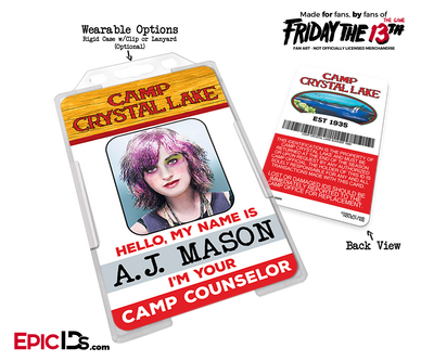 Camp Crystal Lake 'Friday the 13th' Camp Counselor Cosplay Name Badge [Game Character]