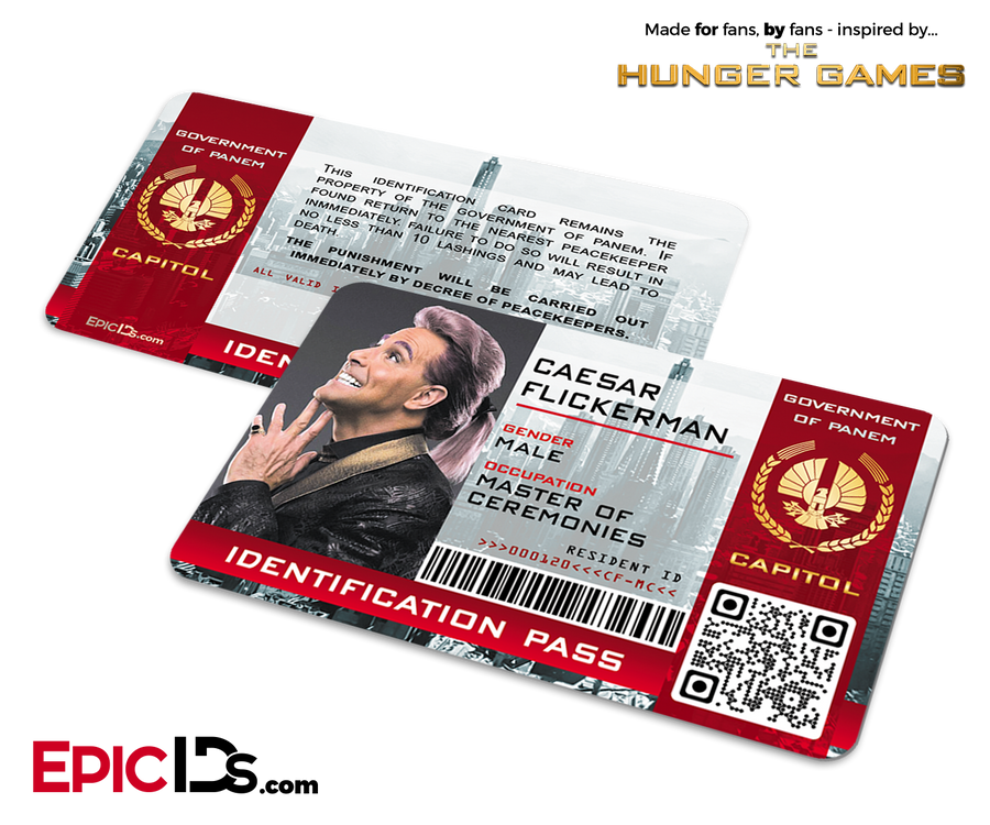 The Hunger Games Inspired Capitol Identification Card - Caesar Flickerman