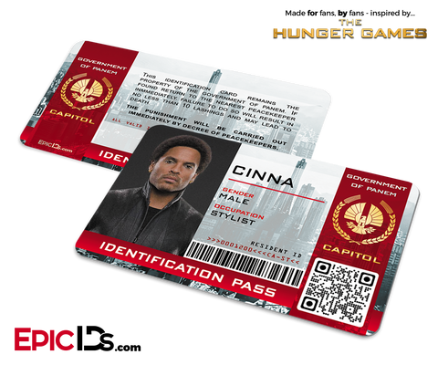 The Hunger Games Inspired Capitol Identification Card - Cinna