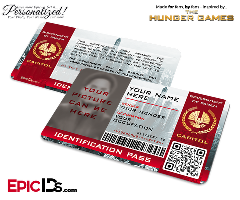 The Hunger Games Inspired Capitol Identification Card [Photo Personalized]