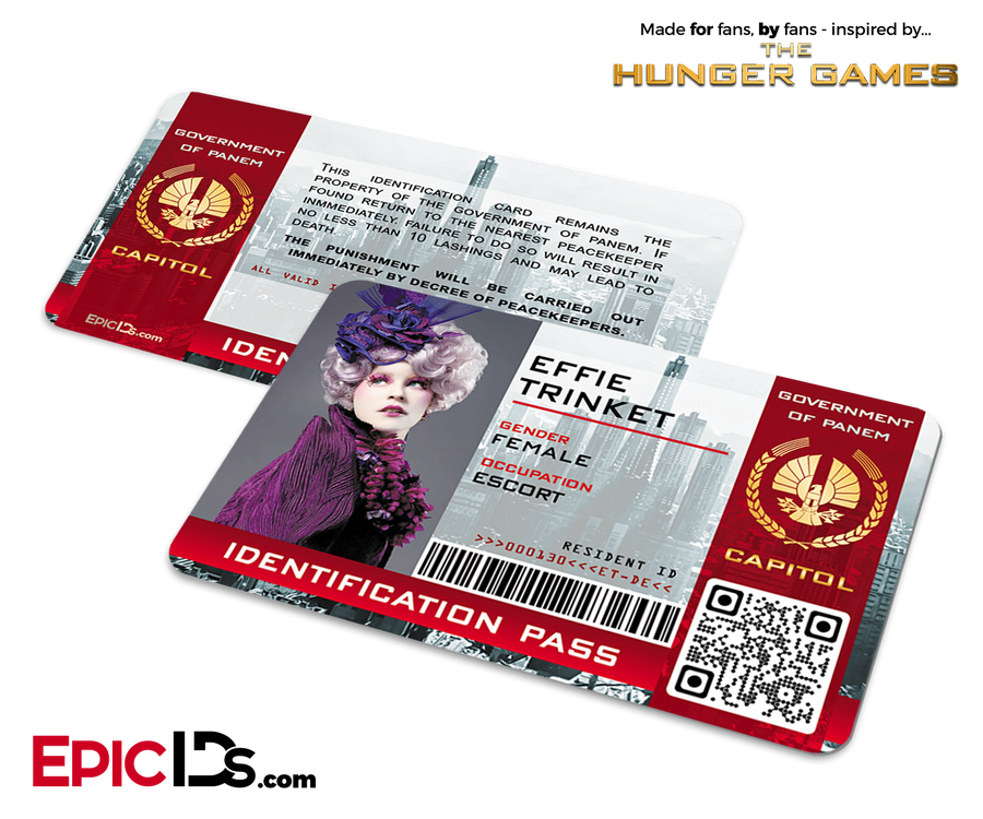 The Hunger Games Inspired Capitol Identification Card - Effie Trinket