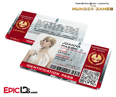 The Hunger Games Inspired Capitol Identification Card - Joanna Mason