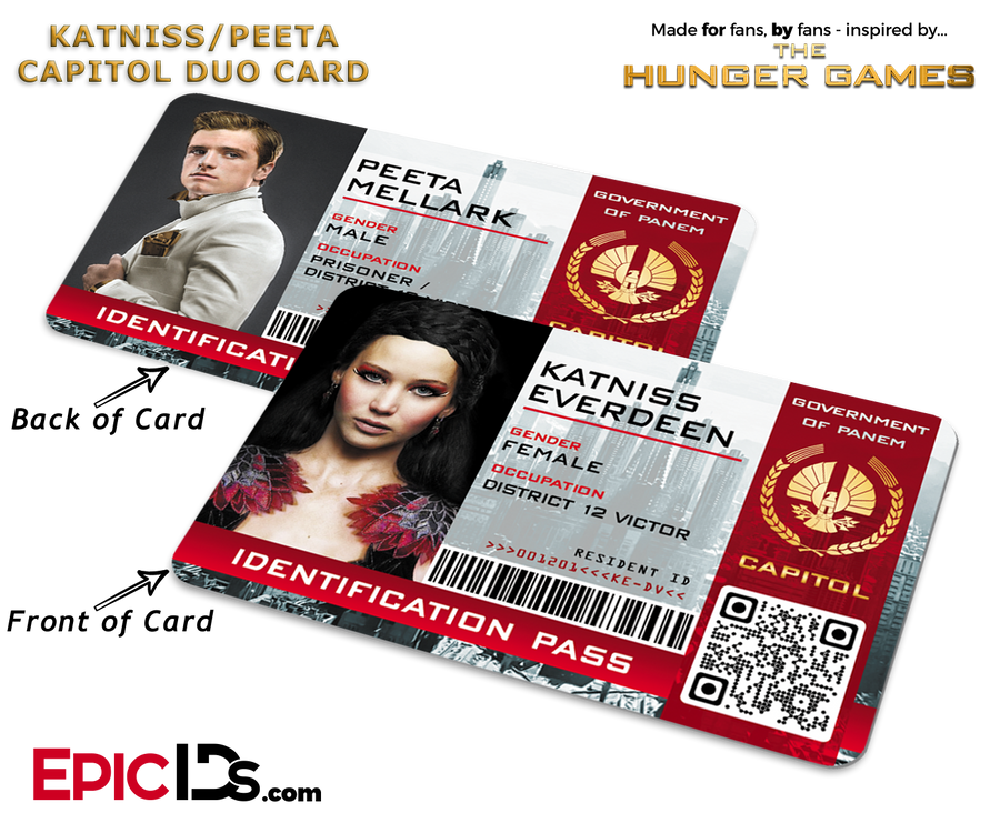The Hunger Games Inspired Capitol Identification Card - Katniss & Peeta Reversible Duo Card