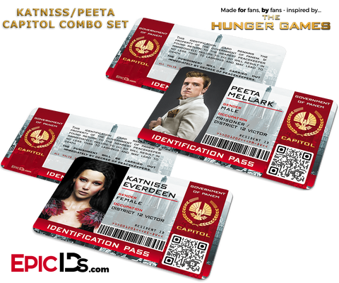 The Hunger Games Inspired Capitol Identification Card - Katniss & Peeta Combo Set