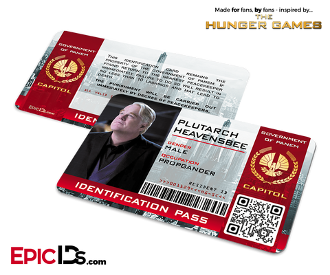The Hunger Games Inspired Capitol Identification Card - Plutarch Heavensbee