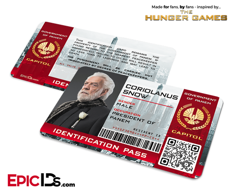 The Hunger Games Inspired Capitol Identification Card - President Coriolanus Snow