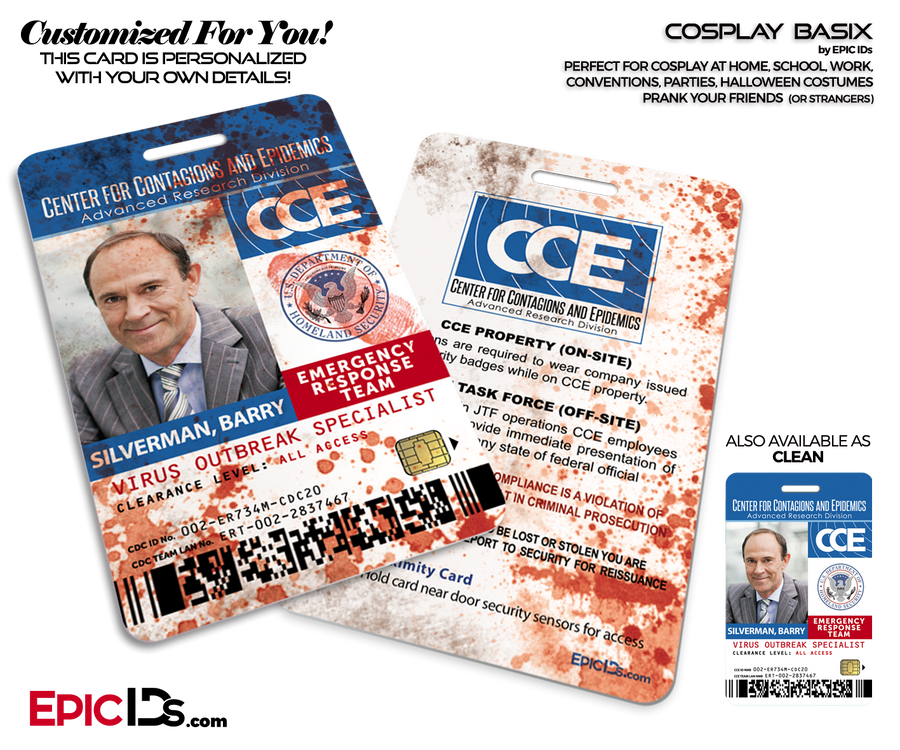 CCE - Center for Contagions and Epidemics CDC Themed Cosplay ID Badge