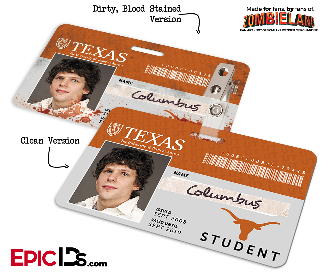 Texas University Epic Student Id Zombieland Ids Cosplay Of 'columbus' -