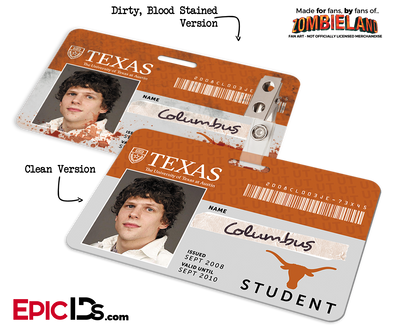 University of Texas 'Columbus' Zombieland Cosplay Student ID