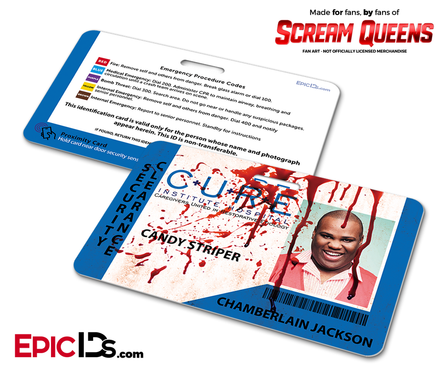 C.U.R.E. 'Scream Queens' Hospital Cosplay Employee ID Name Badge - Chamberlain Jackson